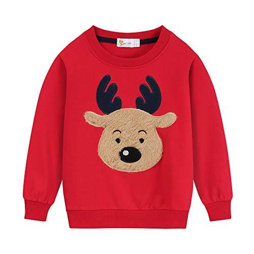 Little Hand Baby Jungen Pullover Sweatshirt Kinder Dick Warme Weihnachtspullover Weihnachtspullis Streetwear Oberbekleidung 2-7 Jahre (116, Regulär-Rot)