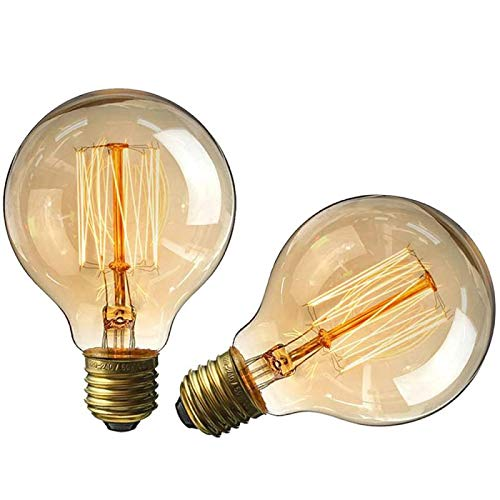 Minsham - Bombilla de filamento en espiral vintage de 40 W, E27, luz blanca cálida G80 220 V (2 unidades)