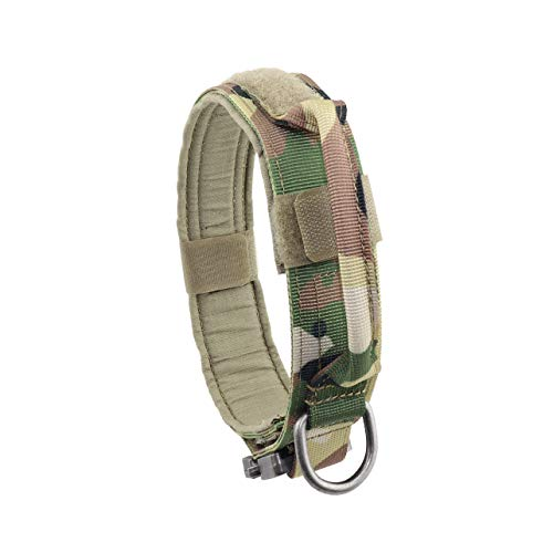 Yunlep Adjustable Tactical Dog Collar Heavy Duty Metal Buckle with Control Handle for Dog Training,1.5' Width (XL, Camo)