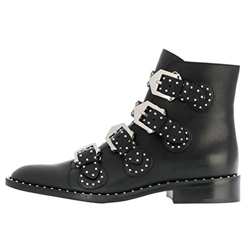 bashafanni Boots for Women Women's Leather Ankle Boot Rivet Studded Booties Low Heel Buckle Shoes Black