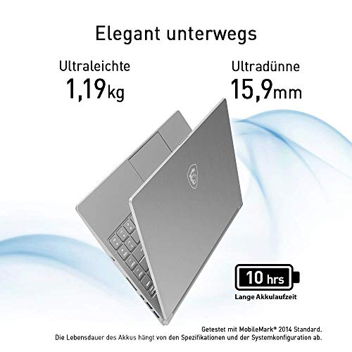 MSI PS42 Modern 8RC-052 Ultra Slim (35,7 cm/14 Zoll) Premium-Laptop (Intel Core i7-8550U, 16GB RAM, 512 GB PCIe SSD, NVIDIA GeForce GTX 1050, Windows 10 Home) Silber, nur 1,19KG
