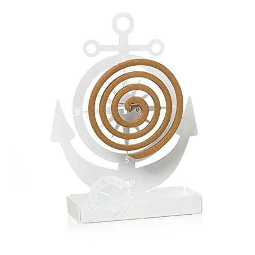 Arti & Mestieri Ancora – Zapatero de mesa de diseño 100% fabricado en Italia – Hierro, 17 x 5 x 19 cm – Blanco mármol
