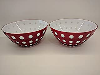 2 Pack Guzzini Le Murrine Bowl, 9-3/4-Inches, Red, White, Transparent BPA Free Italy