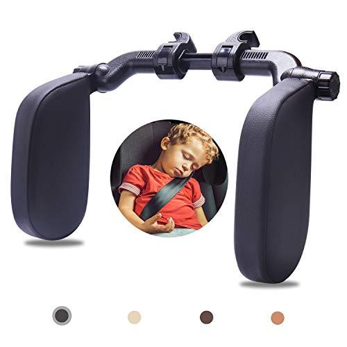 Rajvia Kopfstütze Autositze mit Teleskopstange und Schiebebaren Clips, Seitliches Kopfstützkissen aus Leder für Kinder Erwachsene, Schwarz
