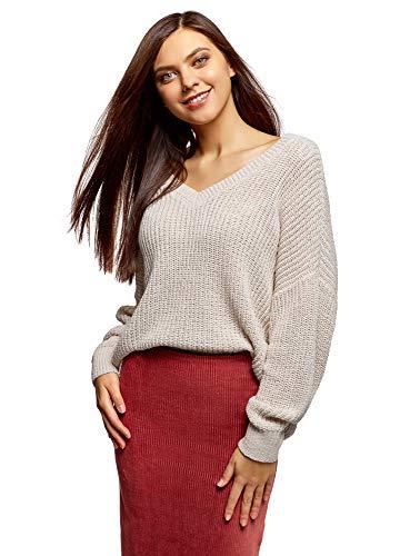 oodji Ultra Damen Lässiger Pullover mit V-Ausschnitt, Grau, DE 34 / EU 36 / XS