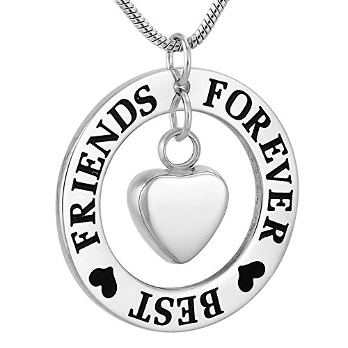 TNBKDSE Best Friends Forever Collar conmemorativo de Acero Inoxidable para Joyas de cremación de Recuerdo de Cenizas