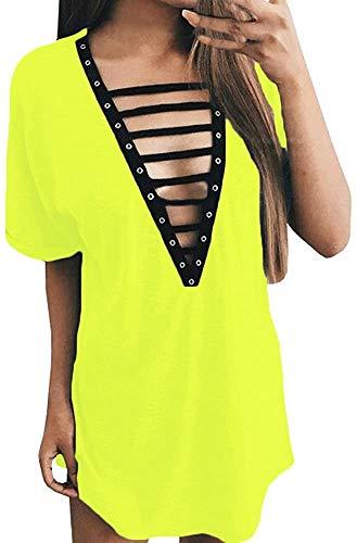 Geckatte Women's V Neck Lace Up Dress Short Sleeve Mini T Shirt Club Dresses Top (Large, H4: Fluorescent Green)