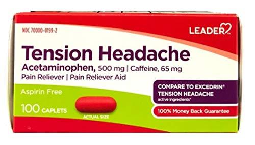 Tension Headache Pain Relief, Aspirin Free, Acetaminophen & Caffeine, Compare to Excedrin Tension Headache Active Ingredient, 100 Caplets (Pack of 3)