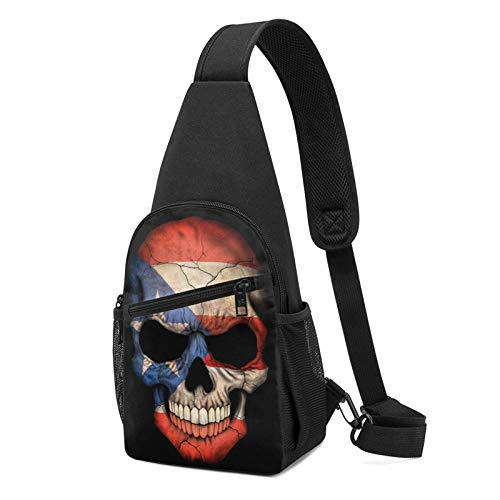Sling Bag for Women Anti-Theft Shoulder Backpack Puerto Rican Flag Skull Puerto Rico Flags Chest Bags Adjustable Crossbody Lightweight Daypack Outdoors & Gym