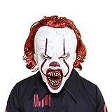 Bulex IT ペニーワイズ マスク 恐ろしいオーバーヘッド ピエロマスク 不気味なハロウィンコスチューム パーティー 不気味な恐ろしい装飾小道具 ベージュ