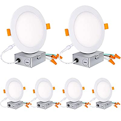 Hykolity 6 Inch LED Slim Recessed Ceiling Light 6 Pack