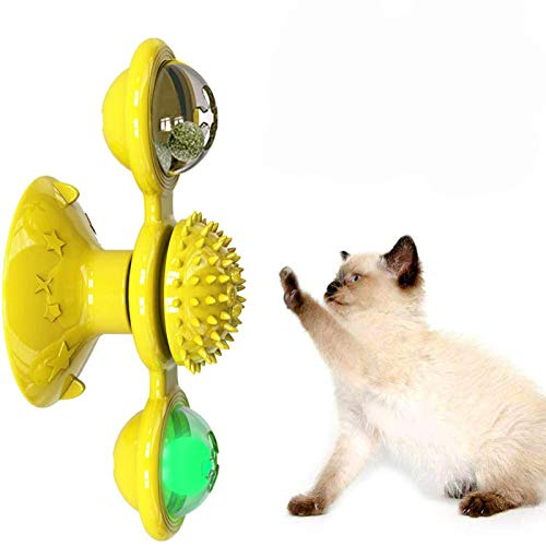 猫おもちゃ 猫の風車のおもちゃターンテーブルからかいペットのおもちゃくすぐる猫ヘアブラシおかしい猫のかみ傷のおもちゃ、内蔵の回転グローライトとキャットニップボール