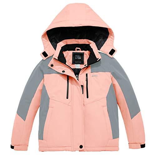 ZSHOW Girls' Waterproof Ski Jacket Winter Hooded Windproof Snow Coat(Coral Pink,14/16)