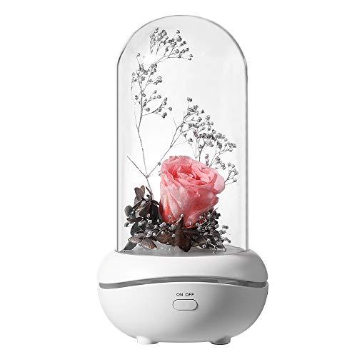 Difusor de Aromas, Humidificador Ultrasónico de 120 ml, Diseño de Rosa Eterna Lámpara de Noche LED de 7 Colores para El Hogar, Yoga, Oficina, Spa, Dormitorio