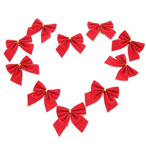 rosenice 10pcs lazos Ornamentales lazos Pajarita, Navidad Baumschmuck Decoración navideña decorativa (Rojo)