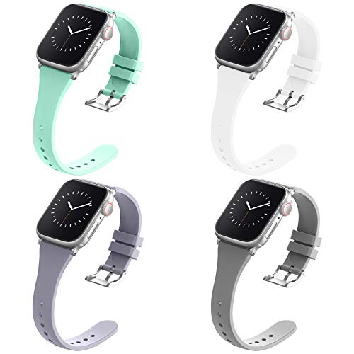 Compatible with Apple Watch Bands 42mm 44mm for Women Men, Adepoy Soft Silicone Narrow Slim Replacement Sport Wristbands for iWatch Series 6 5 4 3 2 1 SE (White Gray Lavender-Gray Teal L)