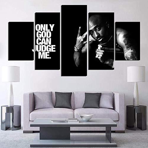 Malerei auf Leinwand Modern Wand Kunst Modular Bilder 5 Stücke Tupac Amaru Shakur Poster HD gedruckt Wohnkultur,B,30×50×2+30×70×2+30×80×1