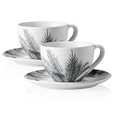Sweese 425.296 Porcelain Cappuccino Cups with Saucers - 7 Ounce for Specialty Coffee Drinks, Cappuccino, Latte, Americano and Tea - Set of 2, Gray