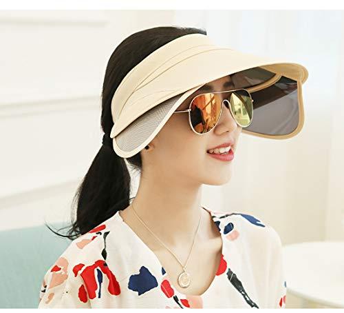 LWKBE Sonnenhut UV-Schutz Visier Cap mit verstellbarem Stirnband, große Krempe Strand Visier leeren Hut zum Wandern Golf Tennis Fahrrad Fahren,Beige