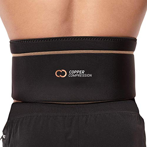 Copper Compression Recovery Back Brace - Highest Copper Content Back Braces for Lower Back Pain Relief. Lumbar Waist Support Belt Fit for Men + Women. Size L-XL Wrap Fits Waist 39