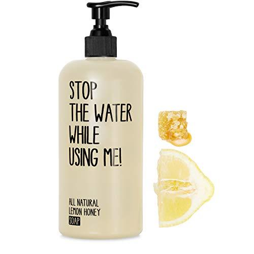 STOP THE WATER WHILE USING ME! Organic Lemon Honey Soap (500 ml), savon mains aux ingrédients naturels, pompe à savon rechargeable, parfum miel & citron