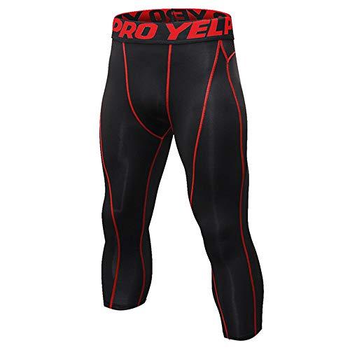Medias de compresión para hombre para correr, transpirables, de secado rápido, ajustadas para hombre, poliéster, Líneas negras y rojas., X-Large