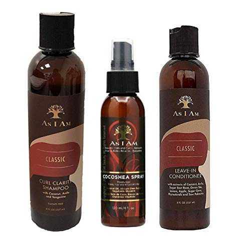 As I Am Naturally 3pcs Combo Deal (Curl Shampoo, Leave-In Conditioner, and Cocoshea spray Moisturizer) Plus 1 free pencil