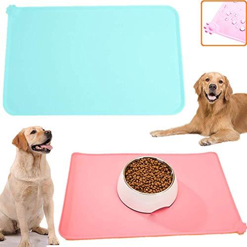 STARPIA 2 Pack Futtermatten für Hunde Katzen, rutschfeste Napfunterlage Hund Katzen, Futternapf Unterlage Silikon Futtermatten rutschfest Wasserdicht für Hund Katze, 47x30cm (Pink + Mintgrün)