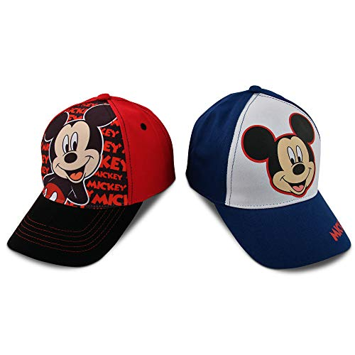 Disney Mickey Mouse Baseball Cap: 2 Pack (Toddler/Little Boys), Size Age 4-7, Mickey Mouse Design - 2 Piece Set