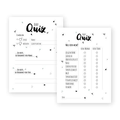 bigdaygraphix Babyparty Ratespiel 20 Karten im Set – DAS Baby Orakel – DIN A6 – Baby-Shower Spielkarten...