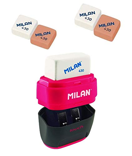 Milan- 4 Gomas Milan 430 y Sacapuntas Doble (Uno Estándar y otro Maxi) Con Depósito, Diseño Compact (Touch)