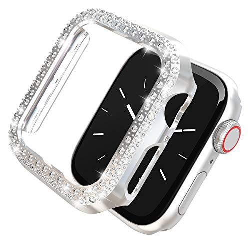 Leotop Compatibile con Apple Watch Custodia 38mm 42mm, PC Diamanti Di Cover Antiurto Protettiva Bling Compatibile iWatch Series 3/2/1 per Donna Ragazze (Argento, 38mm)