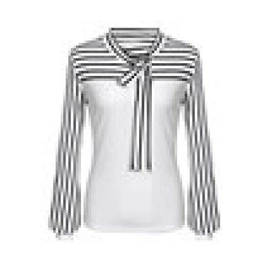 Chemise à manches longues à rayures Femmes, Toamen Col rayé à manches longues Chemisier Taille S ~ XXL (L, blanc)