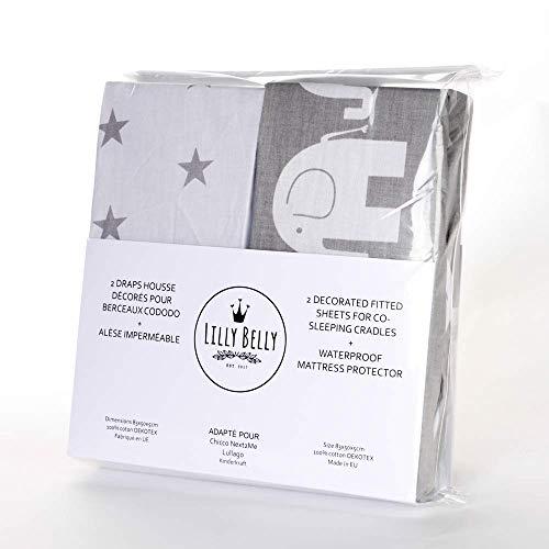 Lot de 2 draps housse+1 alèse 50x83 imperméable OEKO TEX 100% coton compatible berceau cododoNext2me, Lullago, Safety first