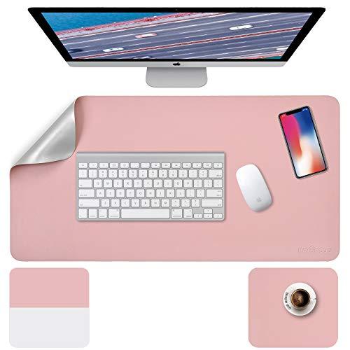 Schreibtischunterlage, Mousepad,Mauspad 2 Pack 80 x 40cm +20 x 28 cm , Schreibtischunterlage Leder, Bürotisch Unterlage , Laptop Unterlage Kinder, XXL Schreibtischunterlage Pink/Sliver PU, Office