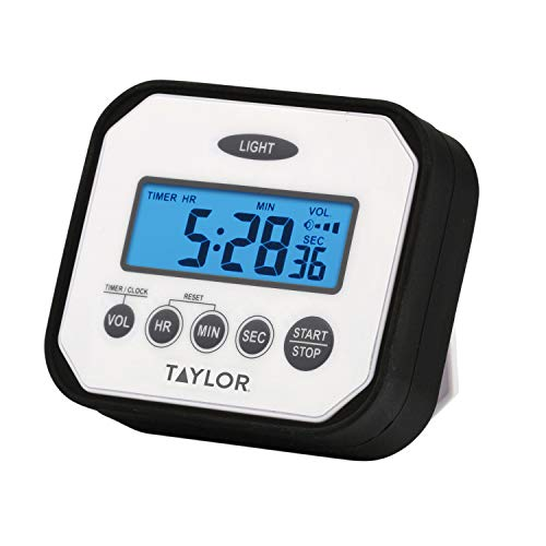 Taylor Precision Products Pro Splash n' Drop Digital Timer with Volume Settings, One Size, White