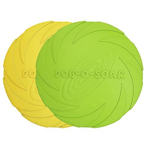 Vivifying Hundefrisbee, 2 Stück 18cm Hunde-Frisbee aus Natürlichem Kautschuk für Land und Wasser (Grün + Gelb)