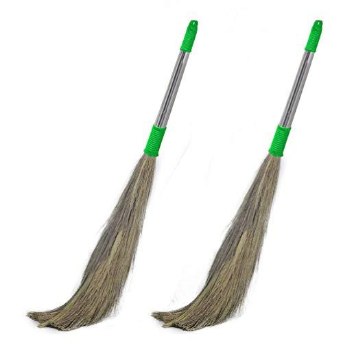 Signamio Stainless Steel Stella Eco Friendly Soft Grass Floor Broom Stick (Multicolour) -2 Pcs