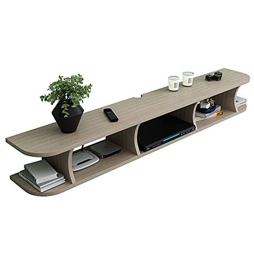 Mueble de TV de pared con estante flotante, estante de entretenimiento para consola multimedia, soporte para caja de cable del receptor/B / 120cm