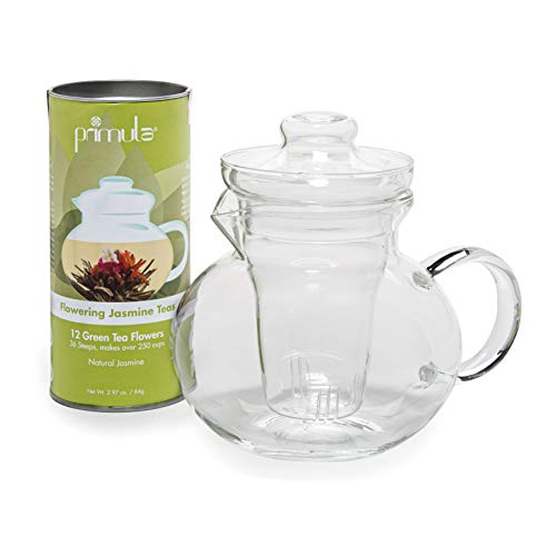 Primula PTA-4002 DST Blossom Borosilicate Glass Teapot Infuser and 12 Blooming, Loose Leaf, Bagged and Flowering Tea, Clear