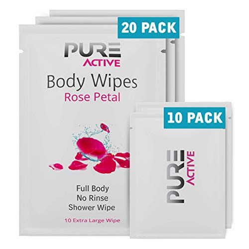 New Shower Body Cleansing Wipes - New Pure Active Rose Petal 20 XL+10 Mini Individually Wrapped Personal Hygiene Wipes For Women Perfect Solution to Keep Clean After Gym Travel Camping Outdoors Sports