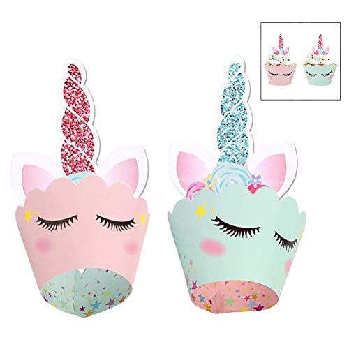 iwobi 24 stuks eenhoorn mini-cupcake toppers en wrappers verpakking voor kinderen party taart decoraties verjaardag decoratie