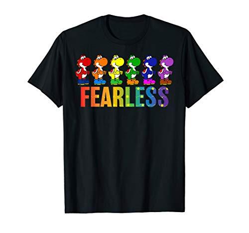 Super Mario Pride Yoshi Fearless Rainbow Line Up T-Shirt