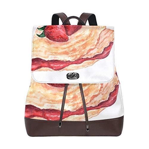 Leder Rucksack Aquarell Erdbeer Kekse Damen PU Bookbag School Purse Schultertasche