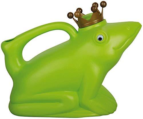 Esschert Design Gießkanne, Wasserkanne Motiv Froschkönig in grün aus Kunststoff, ca. 24 cm x 12 cm x 20 cm