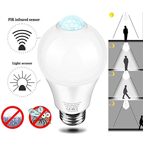 HEEGNPD Screw in Light Bulbs E27 Led Intelligent Induction lamp Warm White Cold White No Need to Open,85V-265V Wide Pressure,3500k (Warm White),9W