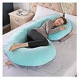 Almohada para embarazo, almohada de maternidad de cuerpo completo, funda de punto gris súper suave en forma de C (color: terciopelo azul gris)