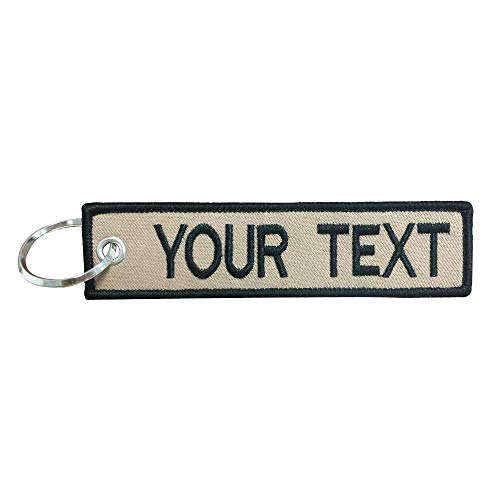 Custom Military keychain Embroidery Text Personality Keychains Tag with Key Ring, EDC for Servicemen, Car, Motorcycle (Light coffee background with Black border)