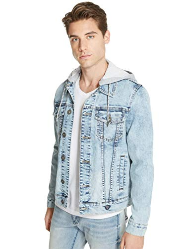 GUESS Factory Men's Harold Removable Hooded Basic Denim Jacket