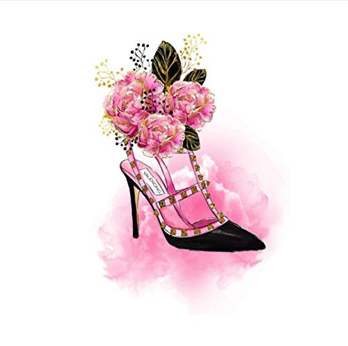 Duying Decoración de la habitación del hogar Arte de la Pared Labios Rosados Bolsa de Perfume Tacones Altos Póster Impresión en Lienzo Pintura 50x70cm (19.68x27.55 in) K-207